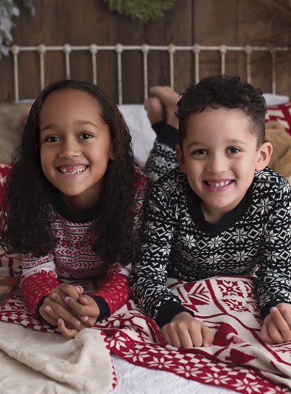 Ava & Carter {christmas PJ mini}